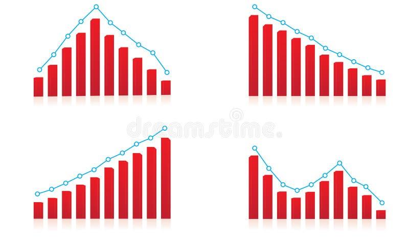 Resultat uppåt- och neråt finansiell diagrammall vektor illustrationer