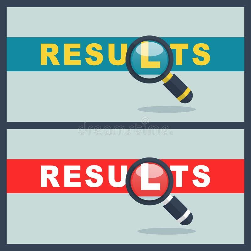 Resultat uttrycker med förstoringsapparatbegrepp royaltyfri illustrationer