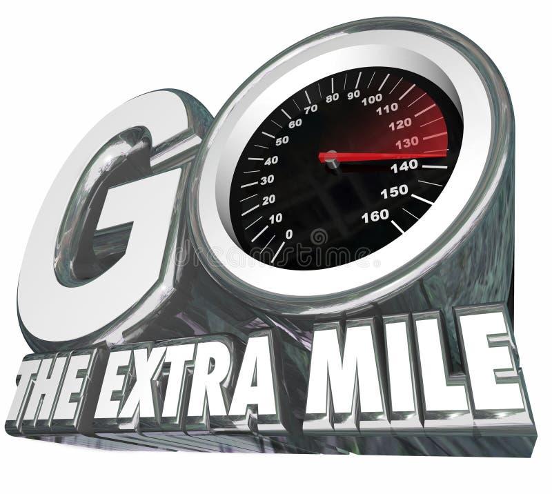 Resultaten för avståndet för försök för den extra milhastighetsmätaren går de extra stock illustrationer