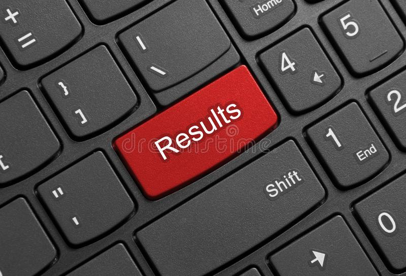 Results button on laptop keyboard royalty free stock photography