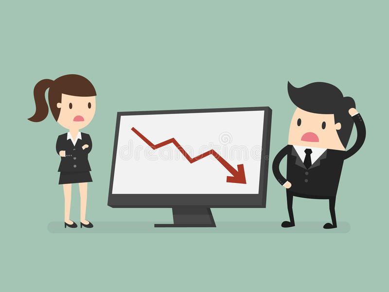 Results chart. Business people looking at a bad results chart vector illustration