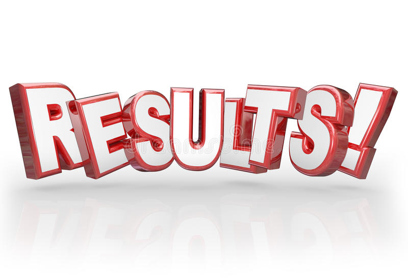 Results 3D Word Accomplishment Outcome Achieve Goal. Results word in red 3d letters to illustrate a good outcome from a goal, mission achieved, objective met or stock illustration