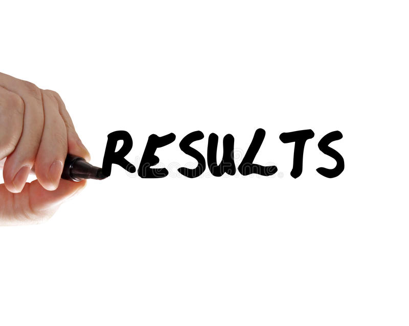 Results hand marker royalty free stock image