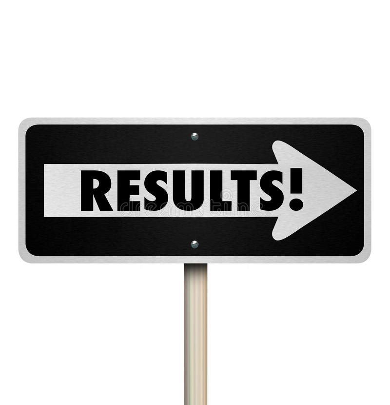 Results One Way Road Sign Outcome Answer End Result Proof Effort. Results word on a one way road sign arrow pointing to outcome, answers, responses or final stock illustration