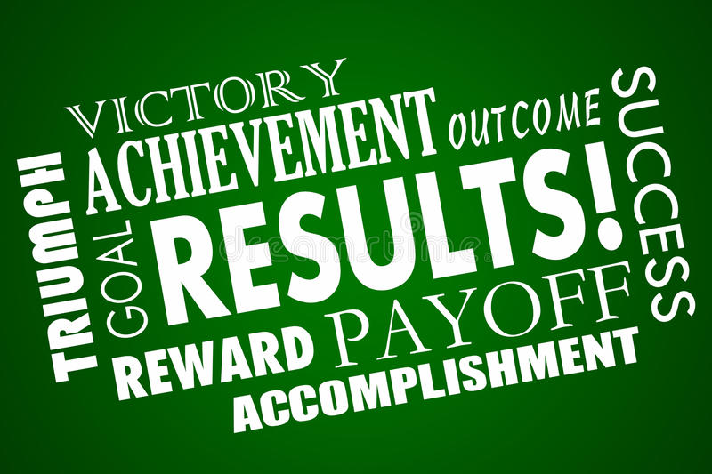 Results Outcome Rewards Goal Word Collage. Results Outcome Rewards Goal Accomplished Word Collage royalty free illustration