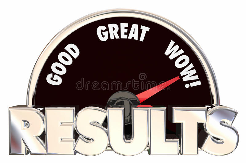 Results Positive Outcome Speedometer. Measuring Success 3d Words vector illustration