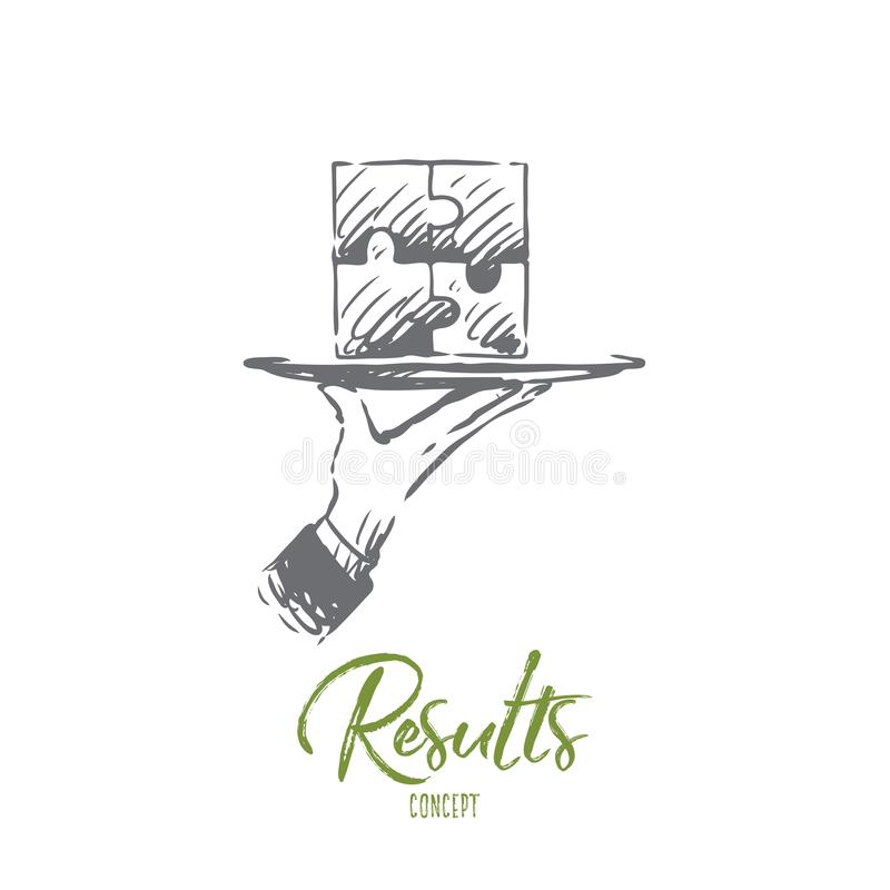 Results, puzzle, connection, solution, teamwork concept. Hand drawn isolated vector. Results, puzzle, connection, solution, teamwork concept. Hand drawn puzzle stock illustration
