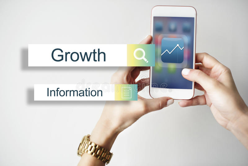 Results Statistics Report Target Concept. Human Hans Holding Smartphone Results Statistics Report Target royalty free stock photo