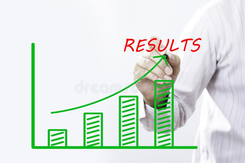 RESULTS text with hand of young businessman point on virtual graph Blue line royalty free stock image