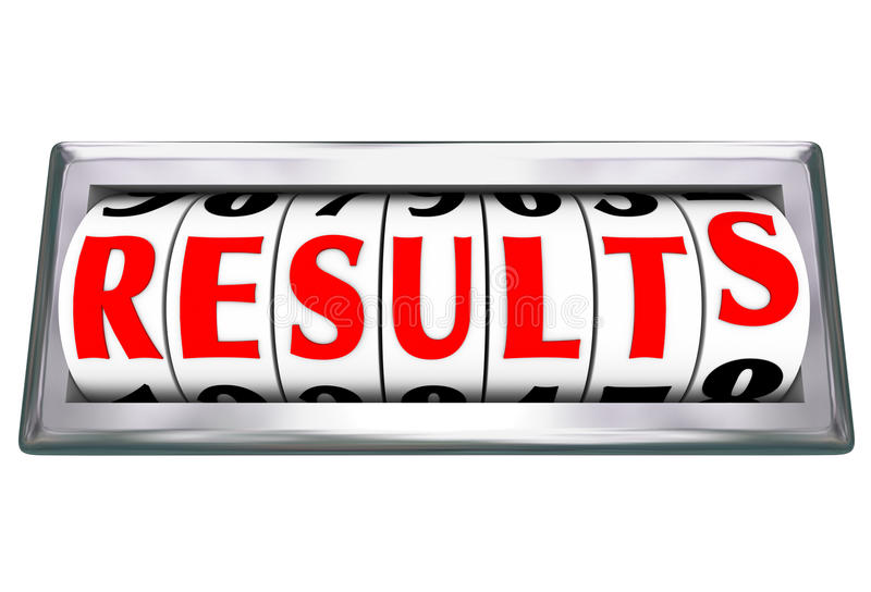 Results Word Outcome Measuring Productivity Efficiency. Results word on an odometer or gauge measuring the outcome and success of your efforts working to meet a stock illustration