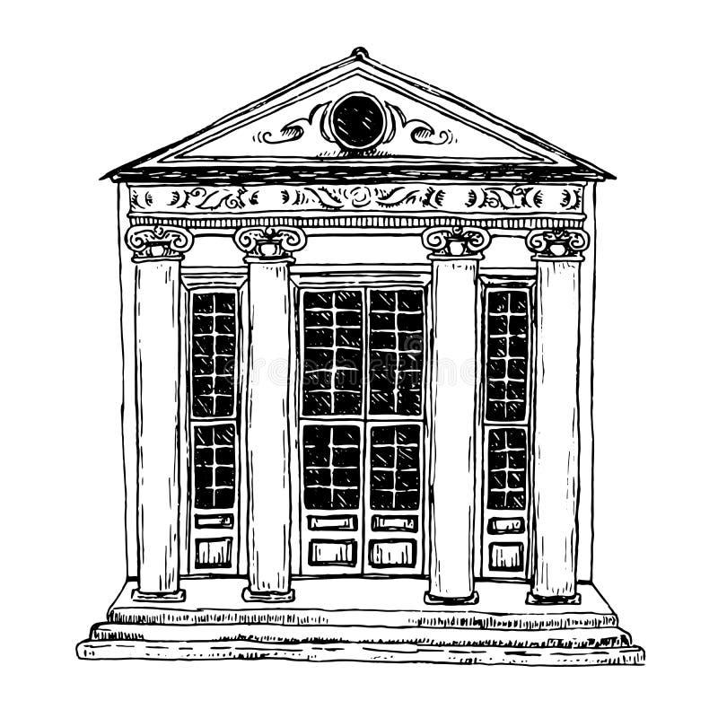 Resuma el bosquejo blanco y negro de un edificio histórico con las columnas, proyecto a mano libre illustration