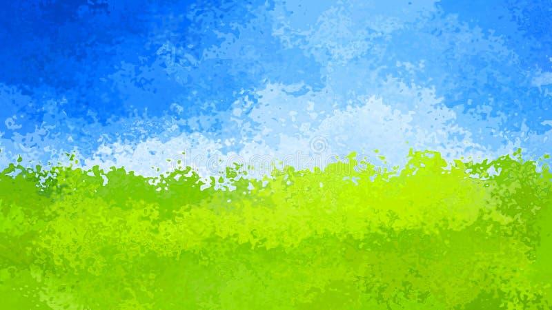 Resuma el cielo azul manchado del fondo del rectángulo del modelo sobre el color verde del paisaje - arte moderno de la pintura - libre illustration