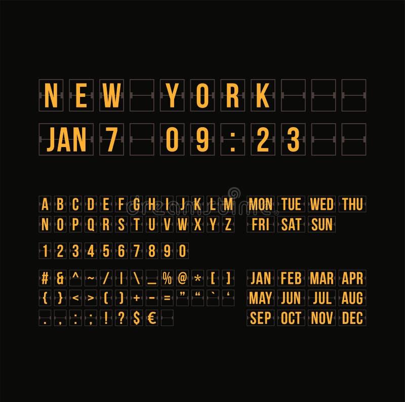 Resuma el contador de tiempo de la cuenta descendiente y feche, calendario plano libre illustration
