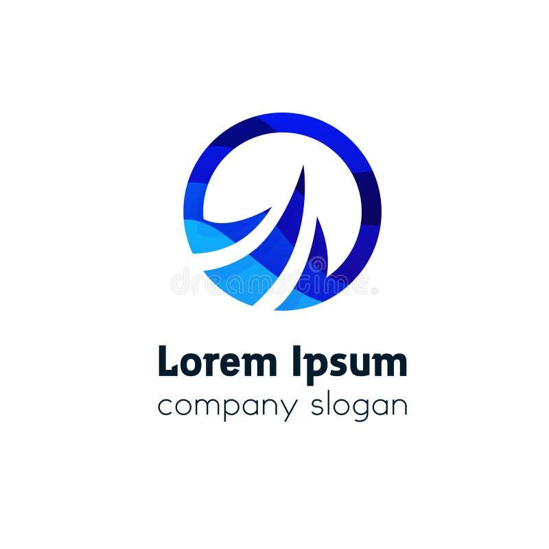Resuma el diseño acodado del vector del logotipo de la compañía del icono de la muestra del watter ilustración del vector