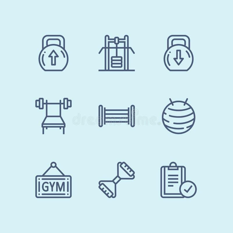 Resuma el entrenamiento, la aptitud, los iconos del gimnasio para el web y el paquete móvil 4 del diseño libre illustration