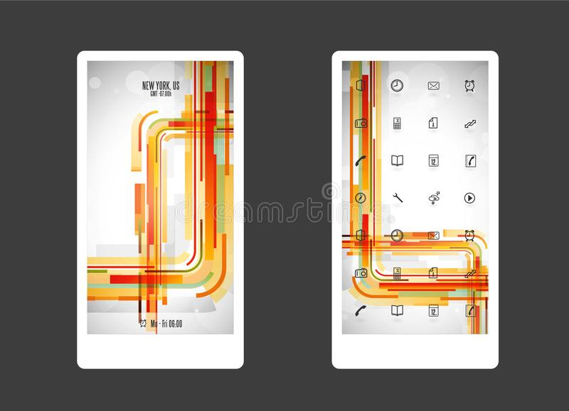 Resuma el fondo coloreado con diversas formas e iconos del app libre illustration