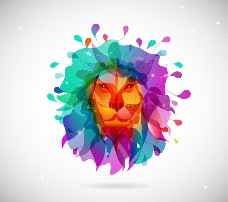 Resuma el fondo coloreado con las formas que recuerdan a la cabeza de los leones libre illustration