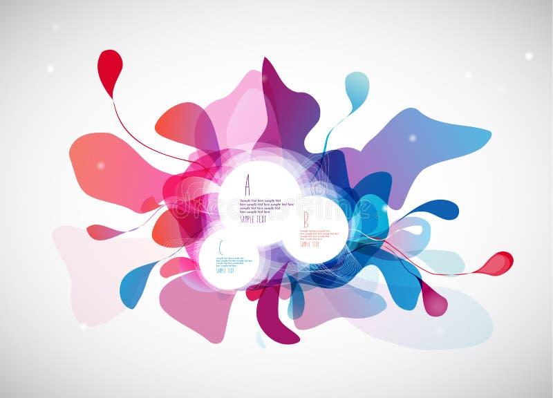 Resuma el fondo coloreado de la flor con los círculos y cepille el movimiento stock de ilustración