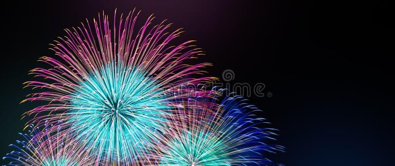 Resuma el fondo coloreado del fuego artificial con el espacio de la copia libre para el texto Concepto colorido de la celebración imagenes de archivo