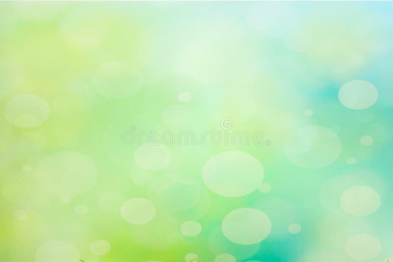 Resuma el fondo de la primavera de la falta de definición Bokeh verde y azul stock de ilustración