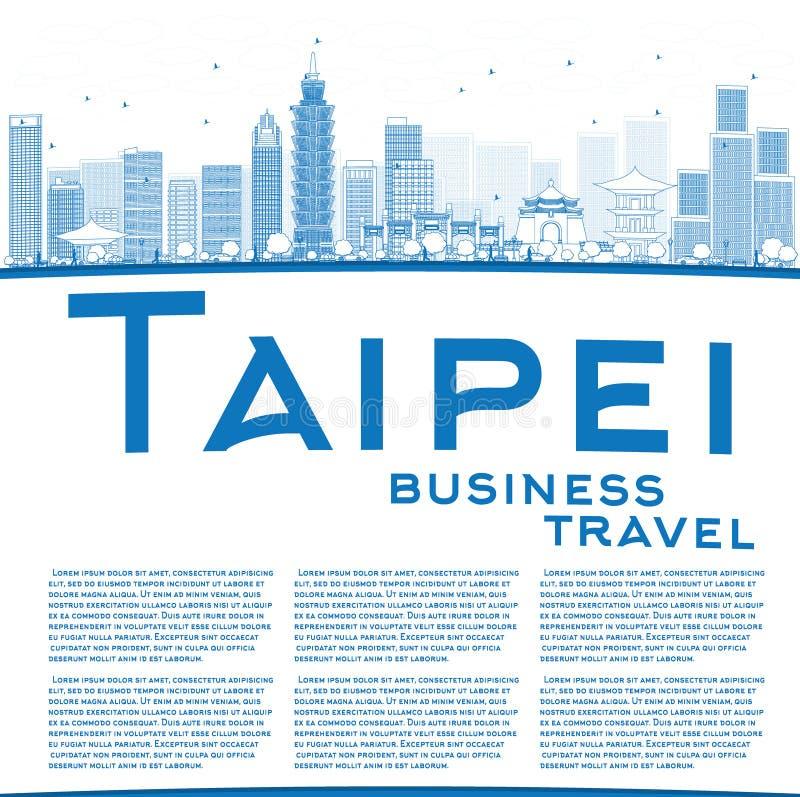 Resuma el horizonte de Taipei con las señales azules y copie el espacio stock de ilustración