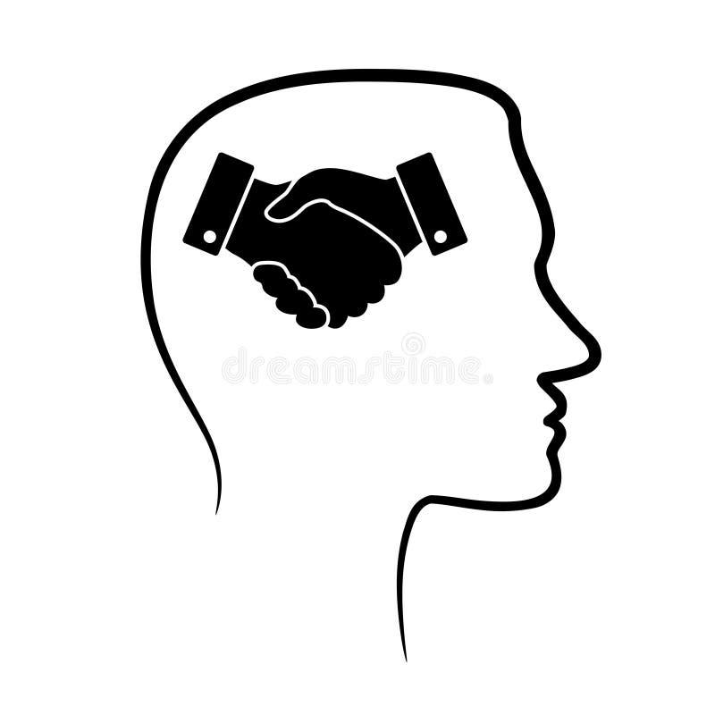 Resuma el icono del diseño con la cabeza humana, el cerebro y la mano linear negra ilustración del vector