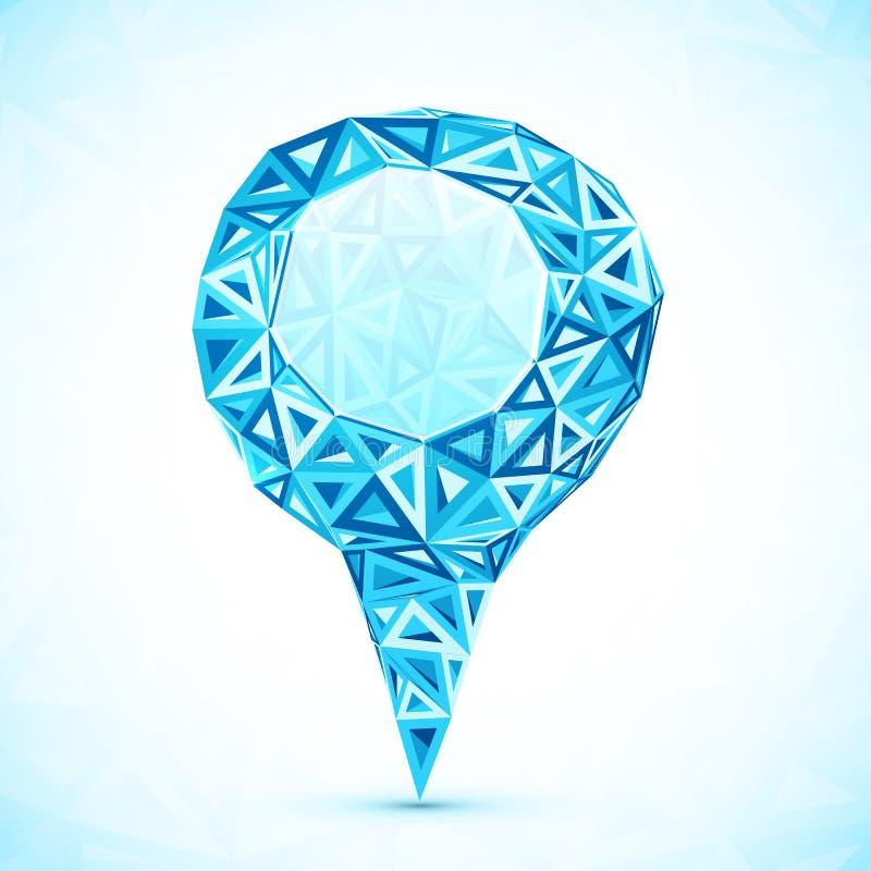 Resuma el indicador azul de la ubicación del mapa del vector del triángulo stock de ilustración