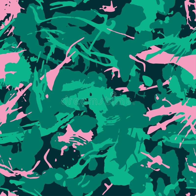Resuma el modelo de moda del camuflaje con los movimientos de la pintura y salpica los elementos para la materia textil Textura i libre illustration
