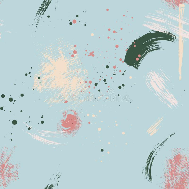Resuma el modelo inconsútil del vector con los movimientos pintados a mano del cepillo y salpica textura en los fondos azules ilustración del vector