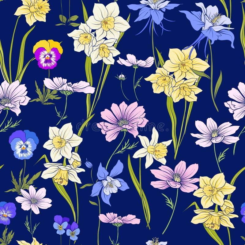 Resuma el modelo inconsútil floral con las flores en estilo del vintage S stock de ilustración