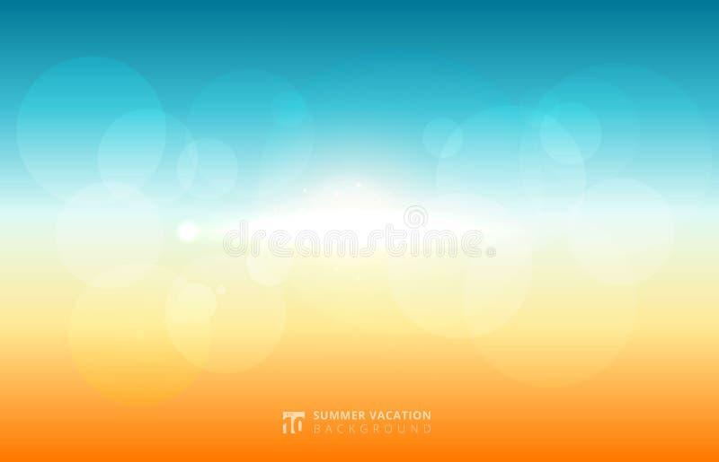 Resuma el verano borroso de la luz del sol del cielo con la naturaleza y el sol f del bokeh stock de ilustración