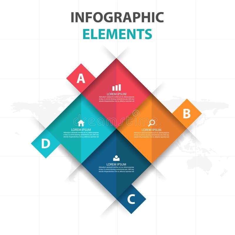 Resuma 4 elementos cuadrados de Infographics del negocio, ejemplo plano del vector del diseño de la plantilla de la presentación  ilustración del vector