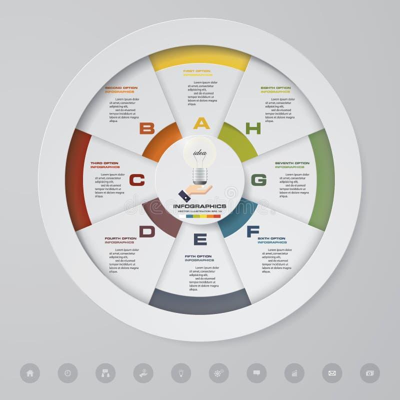 Resuma 8 elementos modernos del infographics del gráfico de sectores de los pasos Ilustración del vector libre illustration