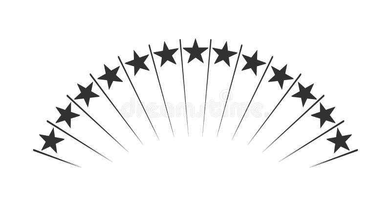 Resuma encima de aumentar las estrellas Shooting Stars Fuegos artificiales Ilustraci?n del vector aislada en el fondo blanco ilustración del vector