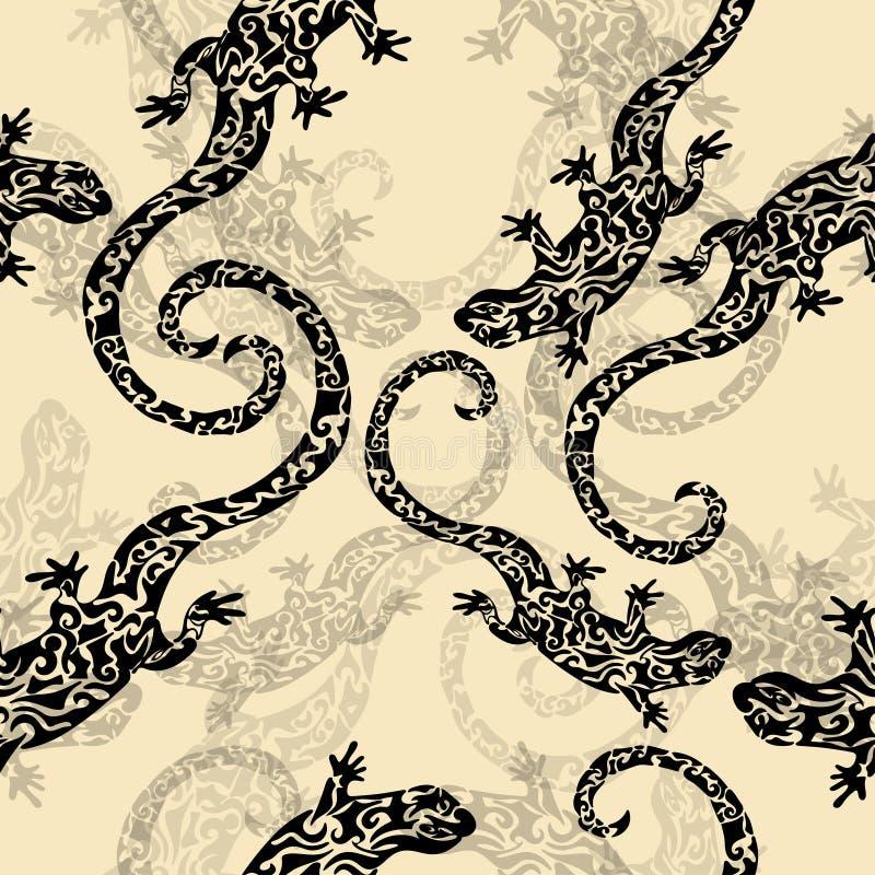 Resuma figuró los lagartos, modelo inconsútil, bosquejo del tatuaje, impresión Reptil negro en un fondo amarillo para el diseño d ilustración del vector