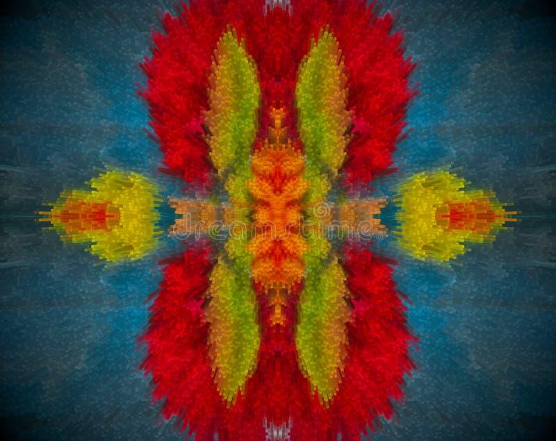 Resuma la mandala sacada con color rojo, anaranjado, azul y verde stock de ilustración