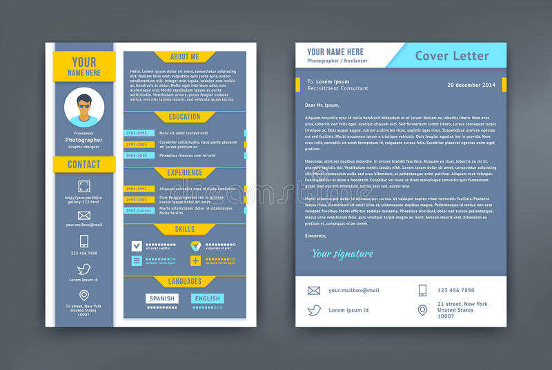 Resume and Cover Letter or CV Template stock illustration