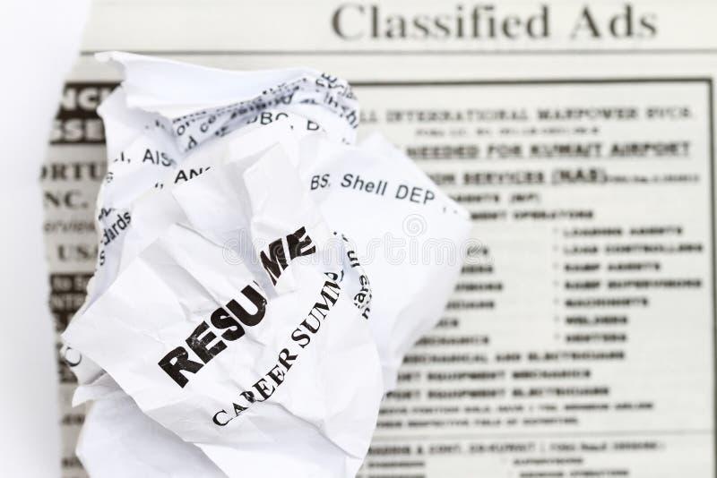 Download Resume crumpled stock photo. Image of garbage, resume - 14852562