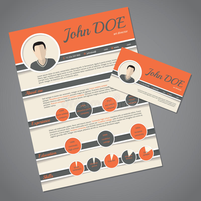 Download Resume Cv Template With Business Card Stock Vector   Illustration  Of Hiring, Layout:  Resume On Cardstock