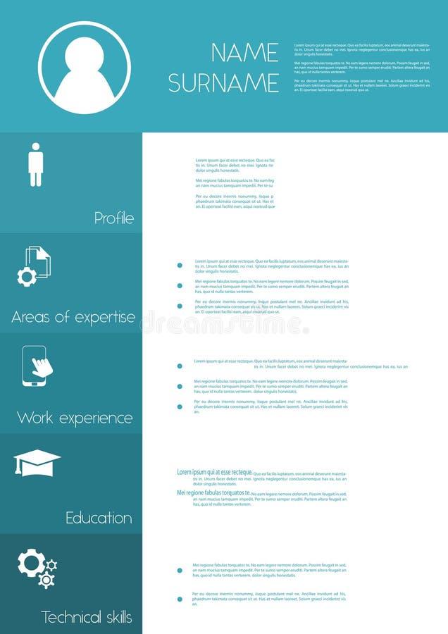 Resume / CV template design. Simple layout royalty free illustration