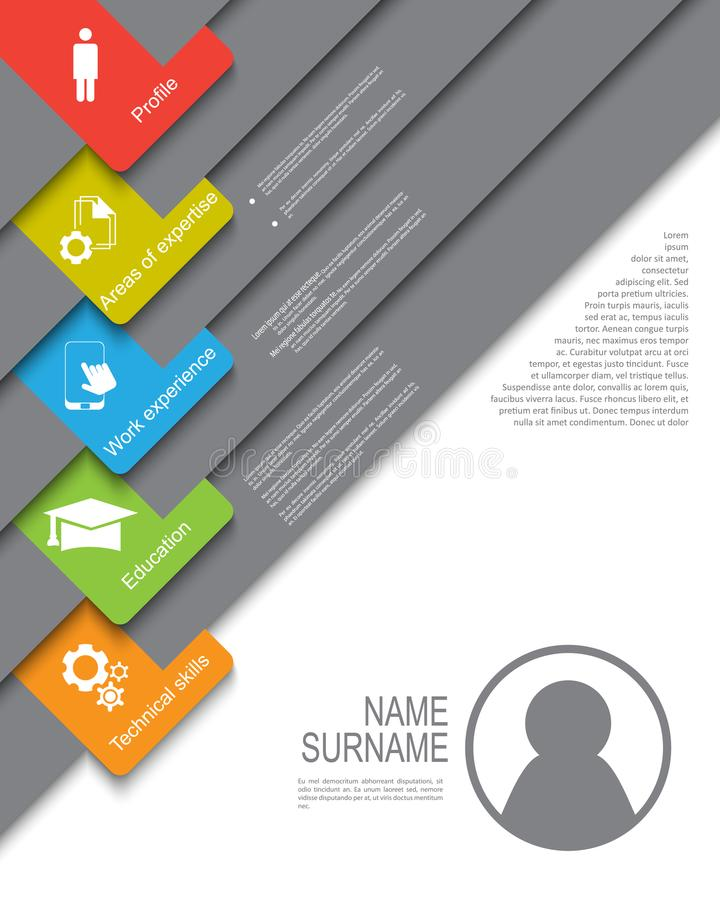 Resume / CV template design with tabs royalty free illustration