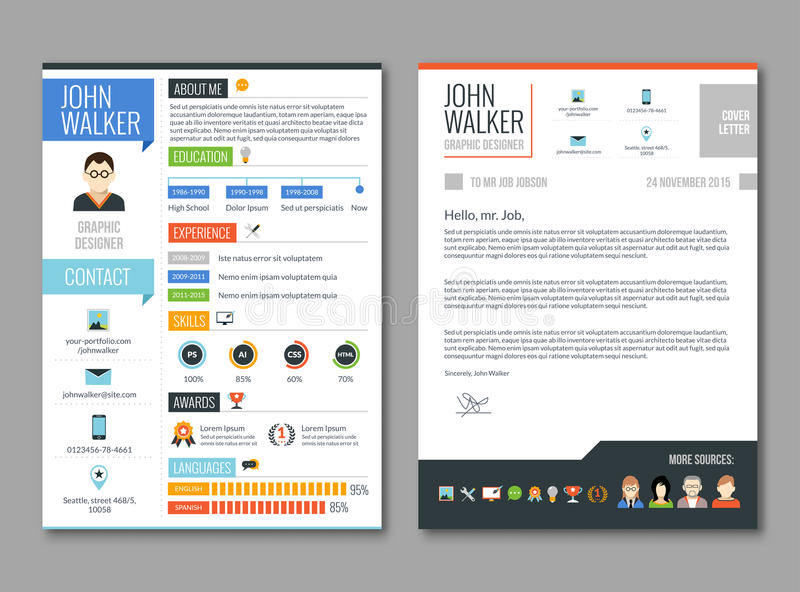 Download Resume cv template stock vector. Illustration of experience - 66334561