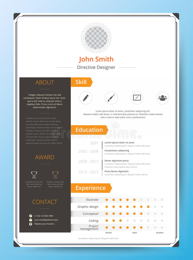 Resume and cv vector template. Awesome for job applications. royalty free illustration