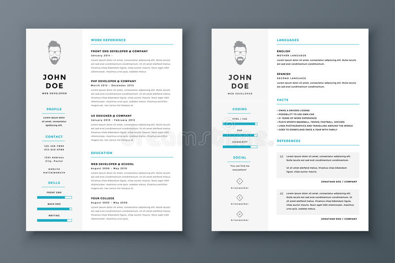Resume and cv vector template. Awesome for job applications. stock illustration