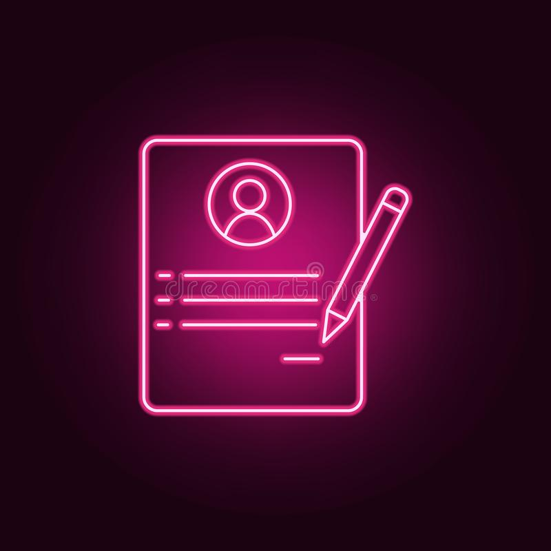 Resume of employee icon. Elements of interview in neon style icons. Simple icon for websites, web design, mobile app, info. Graphics on dark gradient background stock illustration