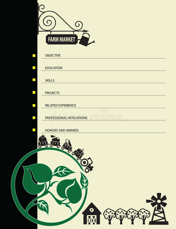 Resume at the farmers market. Vector illustration royalty free illustration