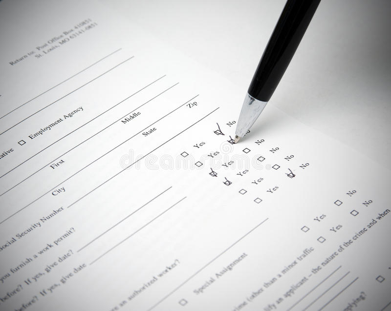Resume form royalty free stock photography