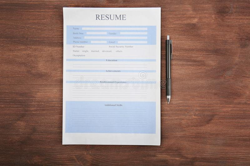 Resume form with pen stock photo