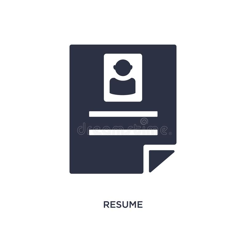 resume icon on white background. Simple element illustration from human resources concept vector illustration