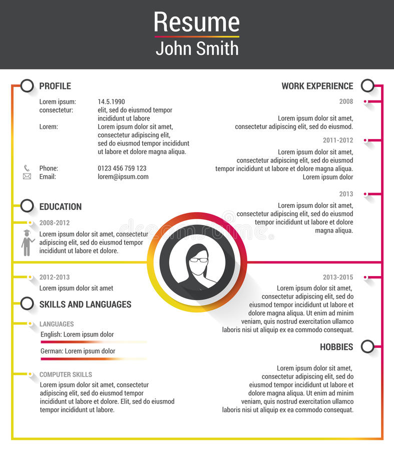 Resume. With Infographics and Timeline. Vector Illustration.  vector illustration